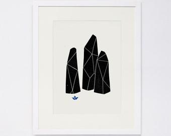 TINY WORLD No. 2, Linocut Print