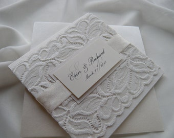 Wedding Invitation, Lace Wedding Invitation, White Lace Wedding Invitation, Winter White Weddings
