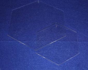 """2 Piece Hexagon Set 6"""" & 10"""" - Quilting Templates- No seam"""