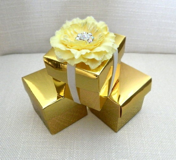 Gold Wedding Favor Box Gold Favor Box Jewelry Box Metallic