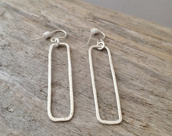 Fine Silver Rectangle Earrings