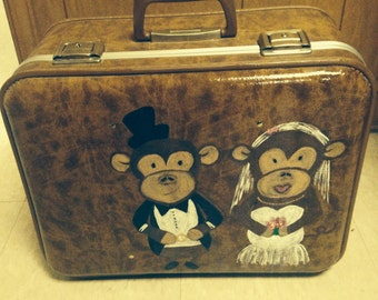 Vintage custom painted suitcase