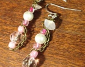 Perfectly Pink Chain Wrapped Earrings