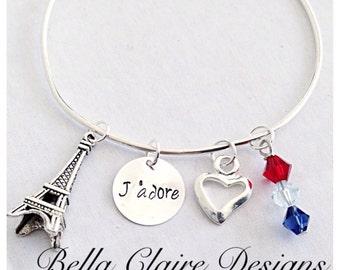 Paris charm bracelet,  Eiffel Tower charm bracelet, eiffel tower charm bangle, J'adore bangle, I Adore you bangle, Eiffel Tower bracelet