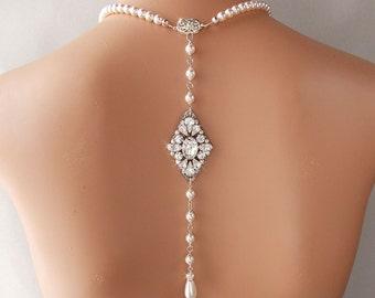 Backdrop Necklace - Bridal Necklace, Wedding Necklace, Pearl Necklace, Gatsby Necklace, Vintage Style, Art Deco Necklace - LARISSA