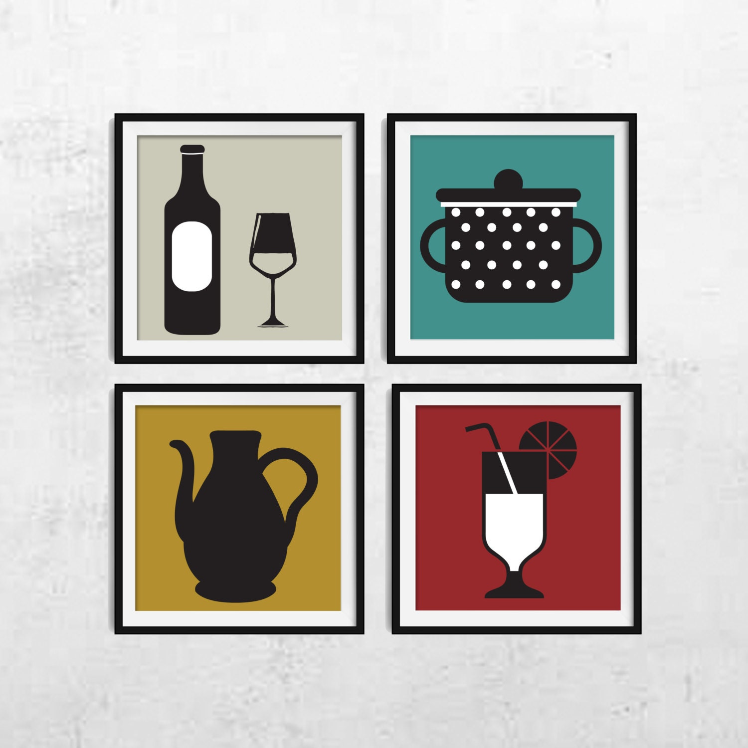 Kitchen wall art kitchen wall decor kitchen print set for Kitchen wall art sets