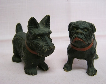Antique  Pair  Carved Wood Scottish Terrier and Bulldog Figurines
