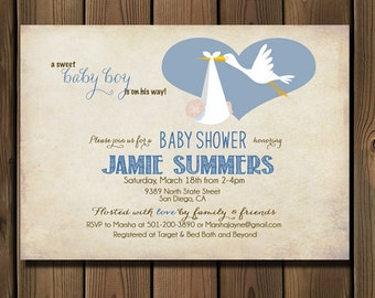 Baby Shower Invitation Boy, Stork Baby Boy Shower Invite  _57