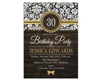 30th Birthday Invitation / 40th 50th 60th 70th 80th 90th / Rustic / Glitter Gold / Wood Grain / Digital Printable Invitation / Customized