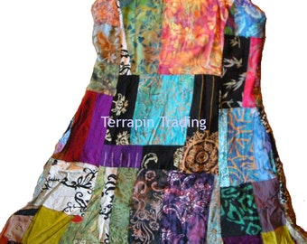 Fair Trade Patchwork Short Dress with Real Batik Patches by Terrapin (511)
