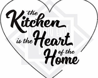 The Kitchen is the Heart of the Home wall expression for personal use