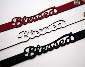 Leather bracelet with the word Blessed.  Name leather bracelet.  Laser cut name bracelet