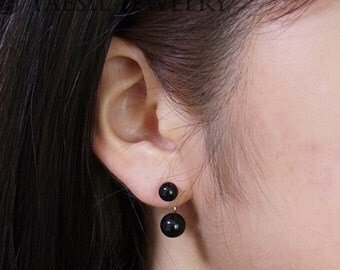 Classic [6/8] Double Onyx Earrings in Jet Black, Onyx Earrings, Sterling Silver Post