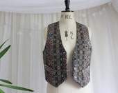 Vintage Tapestry Waistcoat with Satin Lining by Dorothy Perkins. UK size 10, US size 6