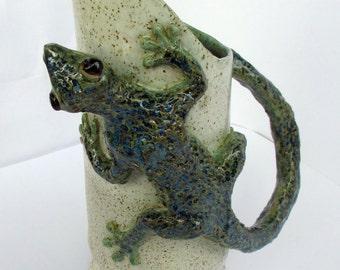 Ceramic gecko lizard white pitcher hand made