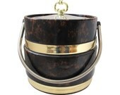 SALE Mid Century Large tortoise & gold   Box Ice Bucket 1970's lacquered