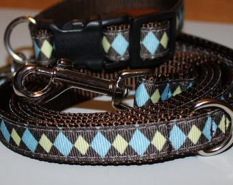 Blue and Yellow Argyle Dog Leash and Dog Collar