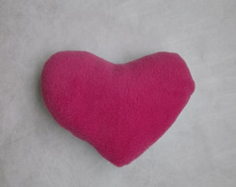 Small sized, soft heart cushion - blue and pink