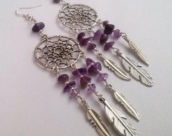 Amethyst Dreamcatcher Earrings , Dream Catcher Earrings , Amethyst Earrings , Tribal Jewelry , Purple Earrings , Handmade Jewelry