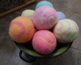 Ovella Wool Dryer Balls: The Doces Swirl Collection set of Nine (9) bright, colorful, pink, purple, green, yellow, blue, swirls, red, orange