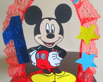 Mickey Mouse Handmade Personalized Birthday Cake Topper/Centerpiece