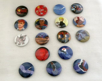 """Johnny Quest  Set of 17  -  1"""" pin back buttons"""