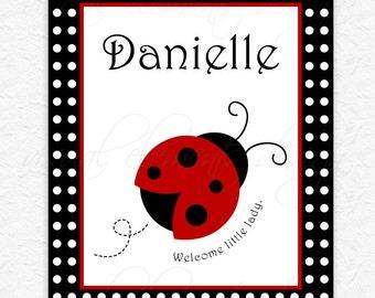 Ladybug Nursery Art, Kids Rooms Art, Personalized Art 8 x 10 Print