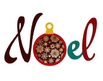 Merry Christmas Noel Bauble. Instant Download Machine Embroidery Design. 4x4 5x7 6x10