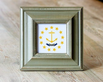 "Just marked down 15.00 OFF ~RI ""Hope"" State Flag, Handpainted Frame, Wood Frame, Sage, Green, Rhode Island, Hope, Little Rhody, Gift"