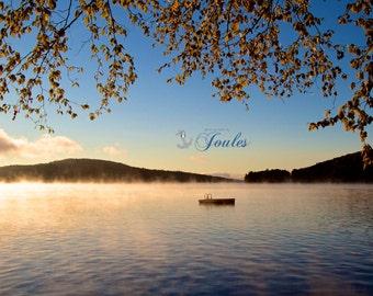 Tranquility ~ Photograph, Lake Winnipesaukee, Linen Texture Finish, Sunrise, Earth Tones, New England, New Hampshire