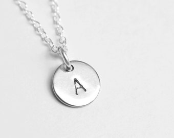 Minimalist Personalized Tiny Hand Stamped Initial Disc Necklace
