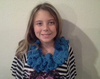 """Hand Crocheted Turquoise Cotton Womens Scarf. """"Infinity"""" Pattern."""