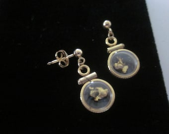 Alaska Gold Nuggets in Beautiful Coin Edge Gold Locket Earrings with Studs - This Pair  would make a Nice Christmas Gift or Stocking Stuffer