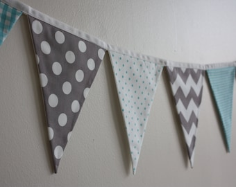 Gray and Teal Bunting Banner Garland ~ Party ~ Photo Prop *Free shipping to the US*