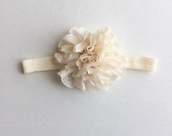 Eyelet Chiffon Headband- Newborn, Infant. Toddler white Ivory