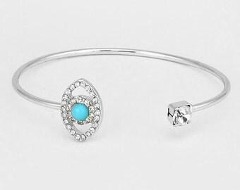 Asymmetrical Evil Eye Cuff Bracelet Silver