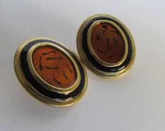 Vintage earring- Orange stud earrings- 90s Jewelry