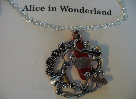 Alice in Wonderland Girl's Charm Necklace,Book Nook, Girls Necklace, Alice, Charm Necklace, Silver Girls Necklace, Adjustable Necklace