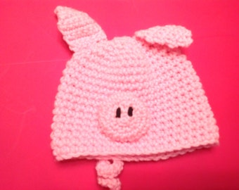 Soft, Crocheted Little Piggy Hat