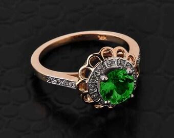 Solid Rose Gold Diamond Emerald CZ Halo Engagement Ring. CZ Emerald Rose Gold Ring. Pave diamond. Flower halo.