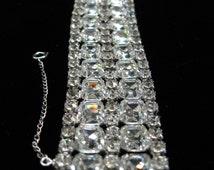 GLORIOUS 1960s rhinestone costume bracelet Vintage glam