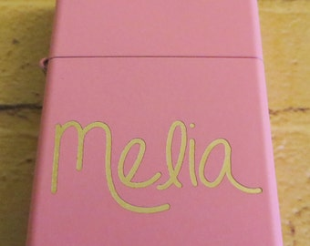 Handwritten Pink Zippo Your Handwriting Laser Engraved, Bridesmaid Gift, Personalized, Birthday, Sorority Sister