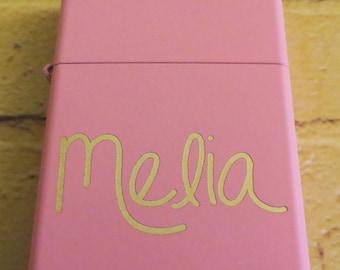Handwritten Pink Zippo Your Handwriting Laser Engraved, Bridesmaid Gift, Personalized, Birthday, Sorority Sister, Christmas gift