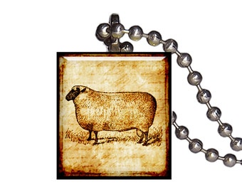 Vintage Sheep Ewe Ram - Reclaimed Scrabble Tile Pendant Necklace