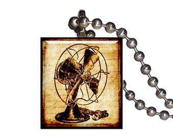Vintage Desk Fan - Reclaimed Scrabble Tile Pendant Necklace