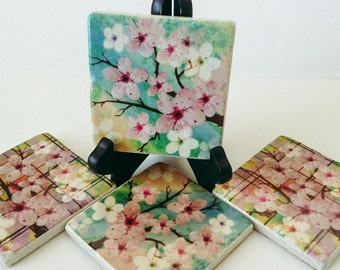 Cherry Blossom Coasters - Flowers - Home Decor - Housewarming Gift - Garden Coasters - Spring - Set of 4