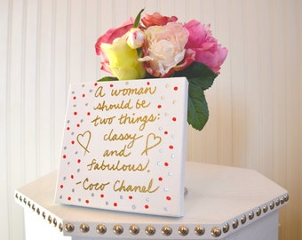 Chanel Quotes, 6x6 stretched canvas with Coco Chanel quote