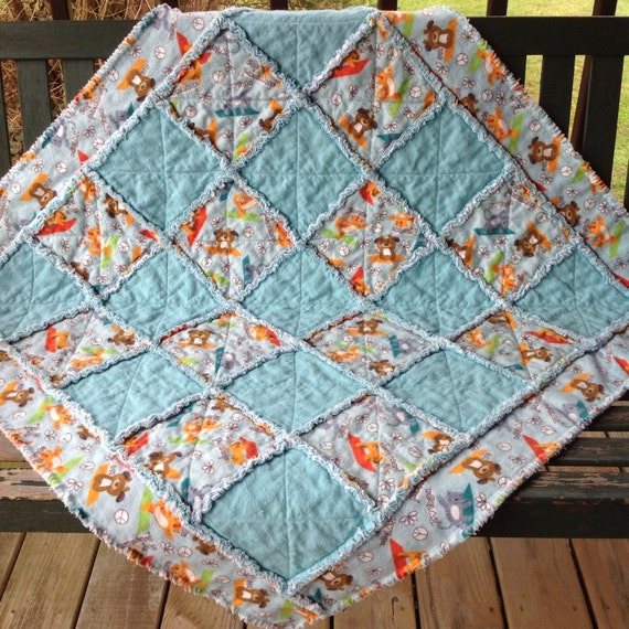 SALE Boy Girl Teal Blue Green Baby Rag Quilt Boy By