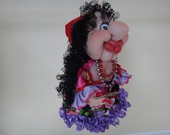 Soft sculpture Decorative Handmade Gipsy woman Doll for luck.