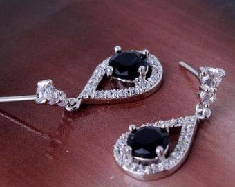 18k white gold filed Black sapphire dangle earrings